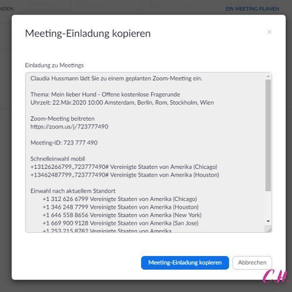 online meeting zoom einladung