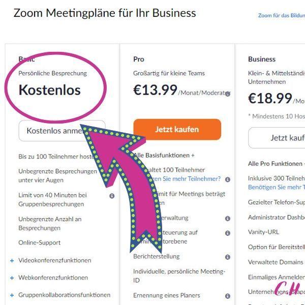 Meeting Plattform Zoom Preisliste